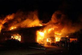 Shovels, kranen en tractoren door vlammenzee verwoest