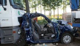 Zwaar ongeval tussen auto en vrachtwagen N65