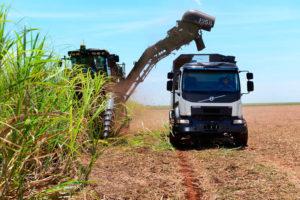 Zelfrijdende Volvo-truck oogst suikerriet