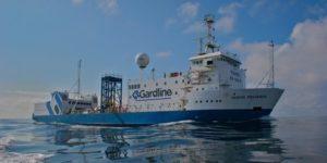 Onderzoeksschip van Gardline op zee. Boskalis wil door de overname voet aan de grond zetten op het gebied van bodemonderzoek.